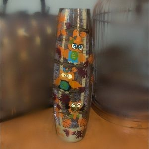 Fall Owl Vase with Lights